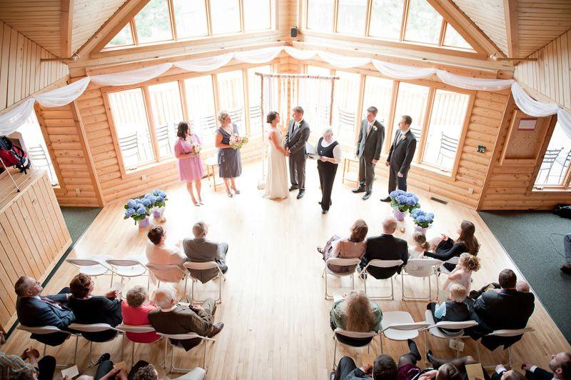 birds eye view of small wedding ceremony